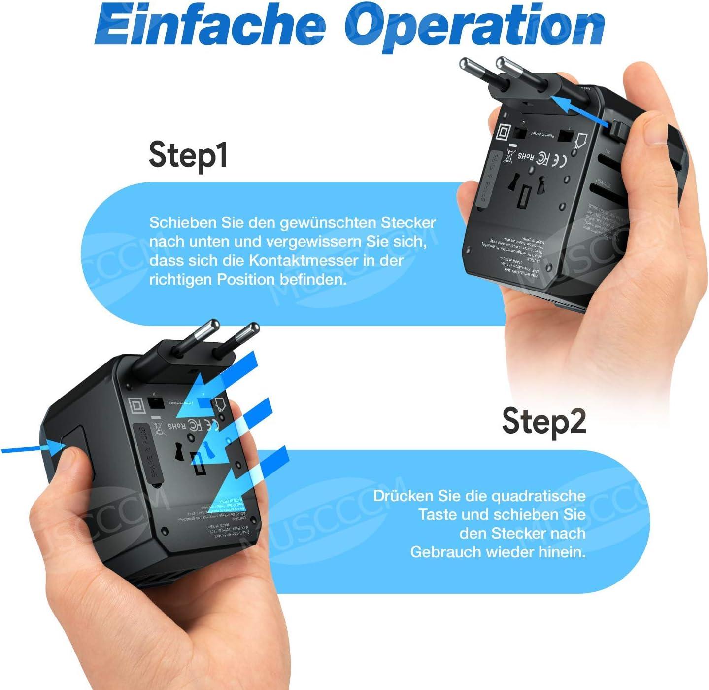 MUSCCCM Adaptateur de Voyage Adaptateur Universel Prises Internationale avec 4 USB Type C double fusible pour UE//US//UK//AUS Utilis/é dans Plus de 150 Pays