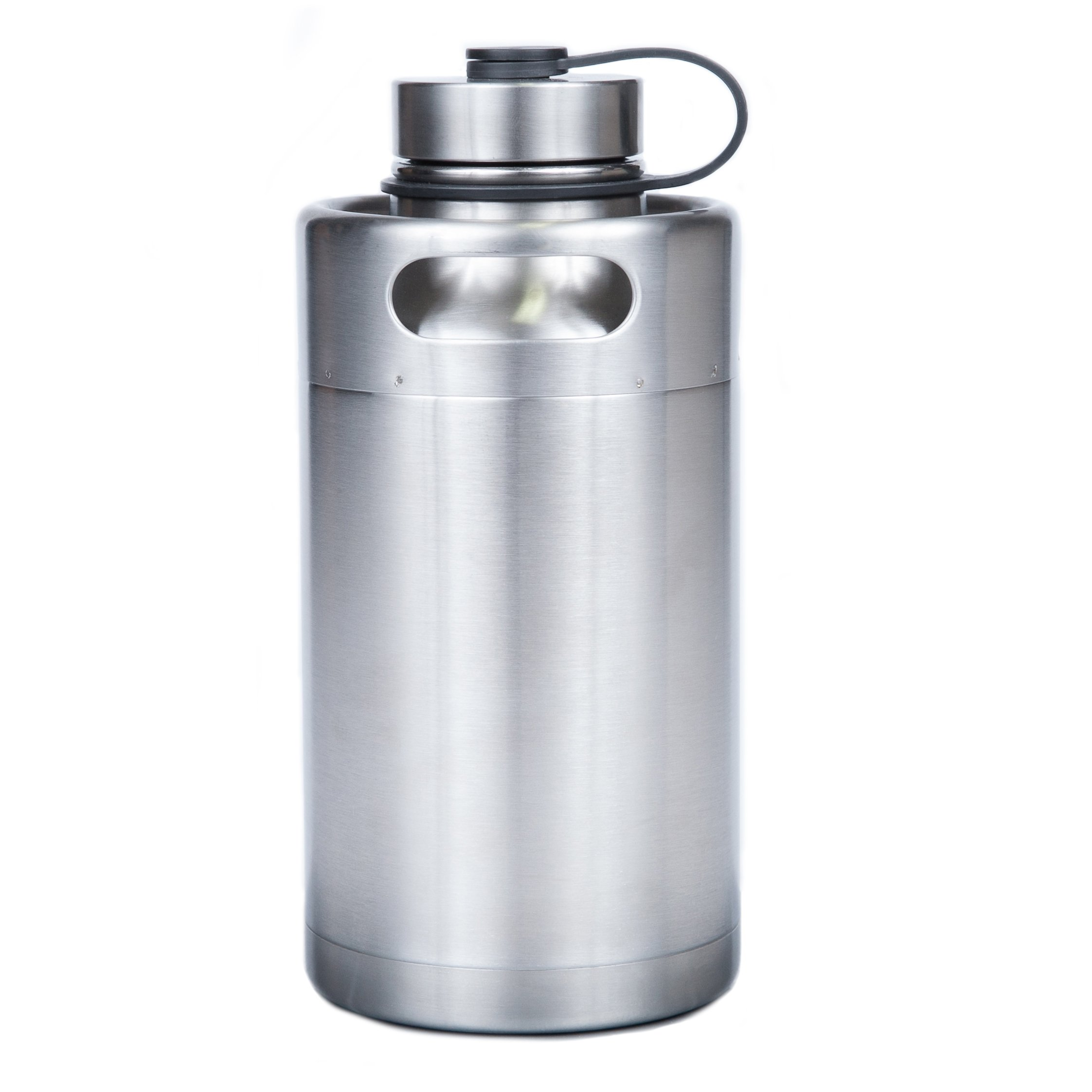 Manna Keg Growler 64 oz Double Walled Vacuum Insulated Stainless Steel w/Thermoplastic Rubber Travel Loop | BPA & Lead Free | Keeps Liquid Cold for 24 Hours & Hot for 12 hours by Manna