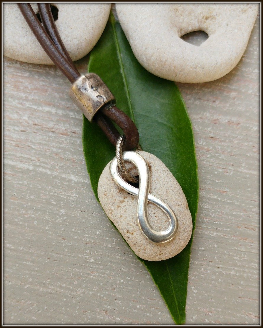 Infinity Hag Stone Necklace Talisman With Naturally Holed Stone