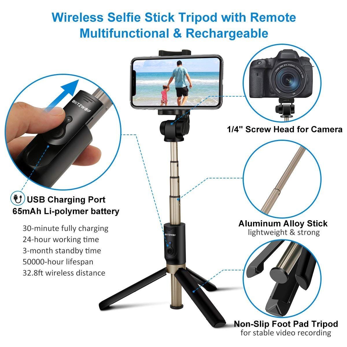 Blitzwolf Selfie Stick Tripod With Bluetooth Remote For Tongsis 3 In 1 Shutter Gopro Iphone X 8 Plus 7 6 6s Android Samsung S9 S8 S7 Edge 4 Mini Pocket