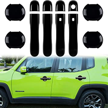 Door Handle Cover with Smart Keyhole and Cup Bowl Cover Trim Combo for 2015 2016 2017 2018 Jeep Renegade(12 PCS) Purple