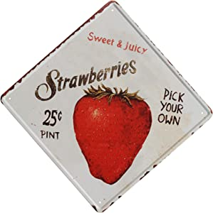 TISOSO Tin Signs Strawberries Pick Your Own Retro Vintage Bar Sign Country Home Wall Decor Designs Farm Organic Fruit Indoor Metal Coffee Art Poster12X12Inch