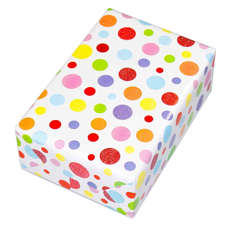 Geschenkpapier Kinder 3 Rollen Motiv Ballero Einschulung Kinder 75 x 150 cm Bunt-Glitzer und edel. F/ür Geburtstag Punkte-Design hochwertig mit Glitter veredelt