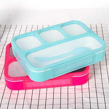 a0caf7758c24 Karmas Product 2 Pack Portable Bento Lunch Box Plastic Food Storage  Containers with 4 Compartments Premium Lunch Boxes with Spoon,Ideal for ...