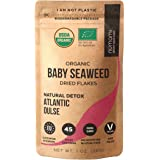 Organic Atlantic Dulse Flakes 1 oz - Young Seaweed Grown in North Atlantic, Vacuum Dried Premium Quality. Soft Texture & Mild