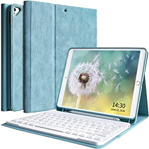 New iPad 10.2 Keyboard Case 8th Generation 2020/7th Generation 2019, Detachable Bluetooth Keyboard Case for iPad Air 3 10.5 2019/iPad Pro 10.5 2017 with Pencil Holder - Lake Blue