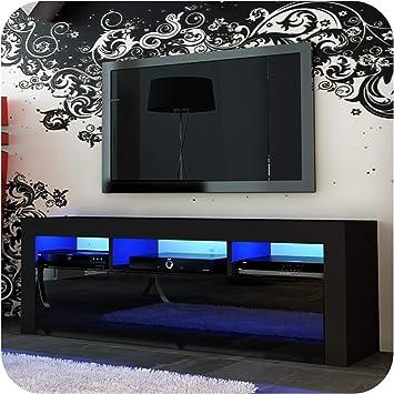 Nuevo! Mueble para TV de 130 cm + Blanco o Negro + Puerta de acrílico de Alto Brillo + Flotante/de pie + LED con Mando a Distancia Small Black Matt + Black Gloss: Amazon.es: Electrónica