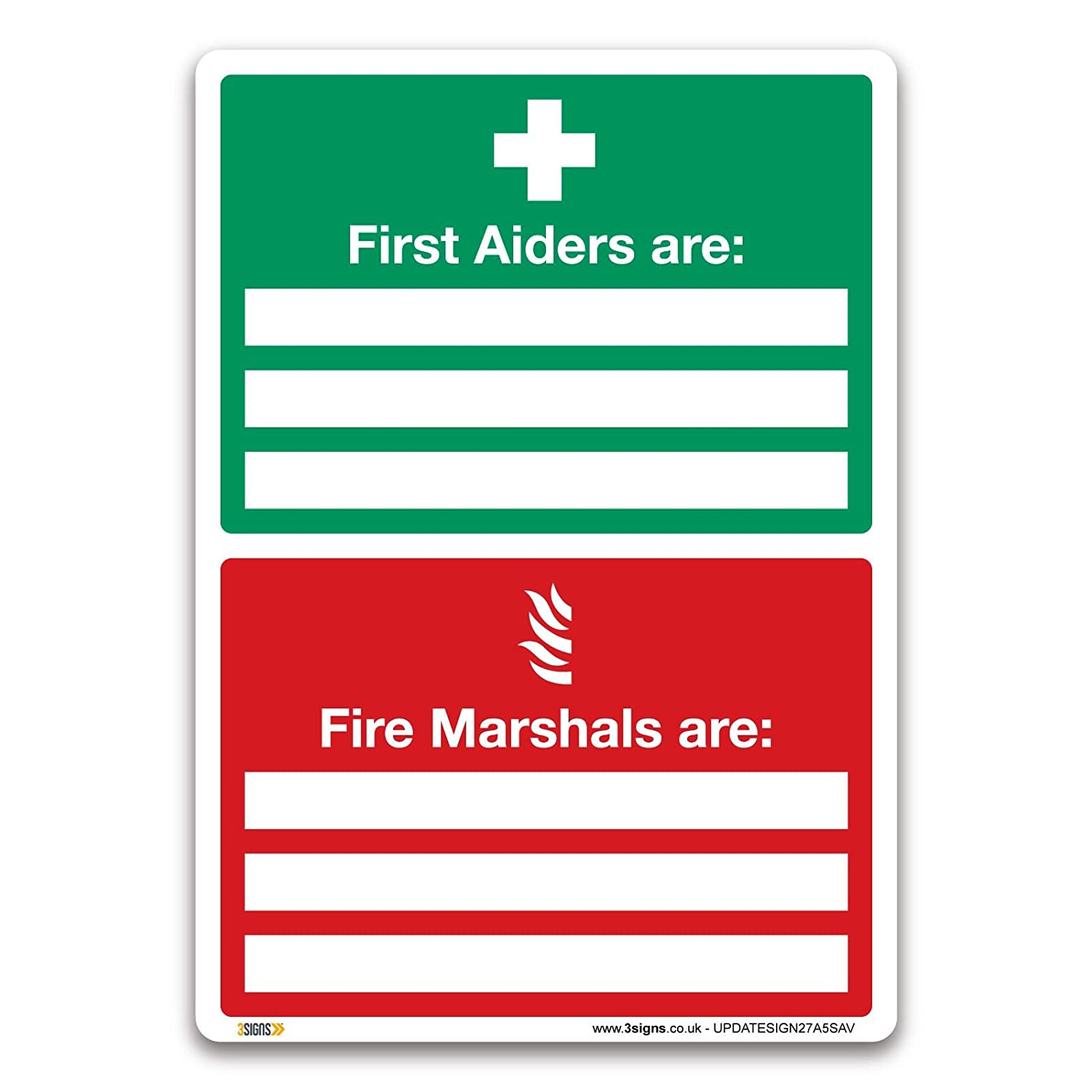 First Aiders Are Fire Marshals Are Sign - A5 Self-adhesive Vinyl - First Aid Emergency Safety