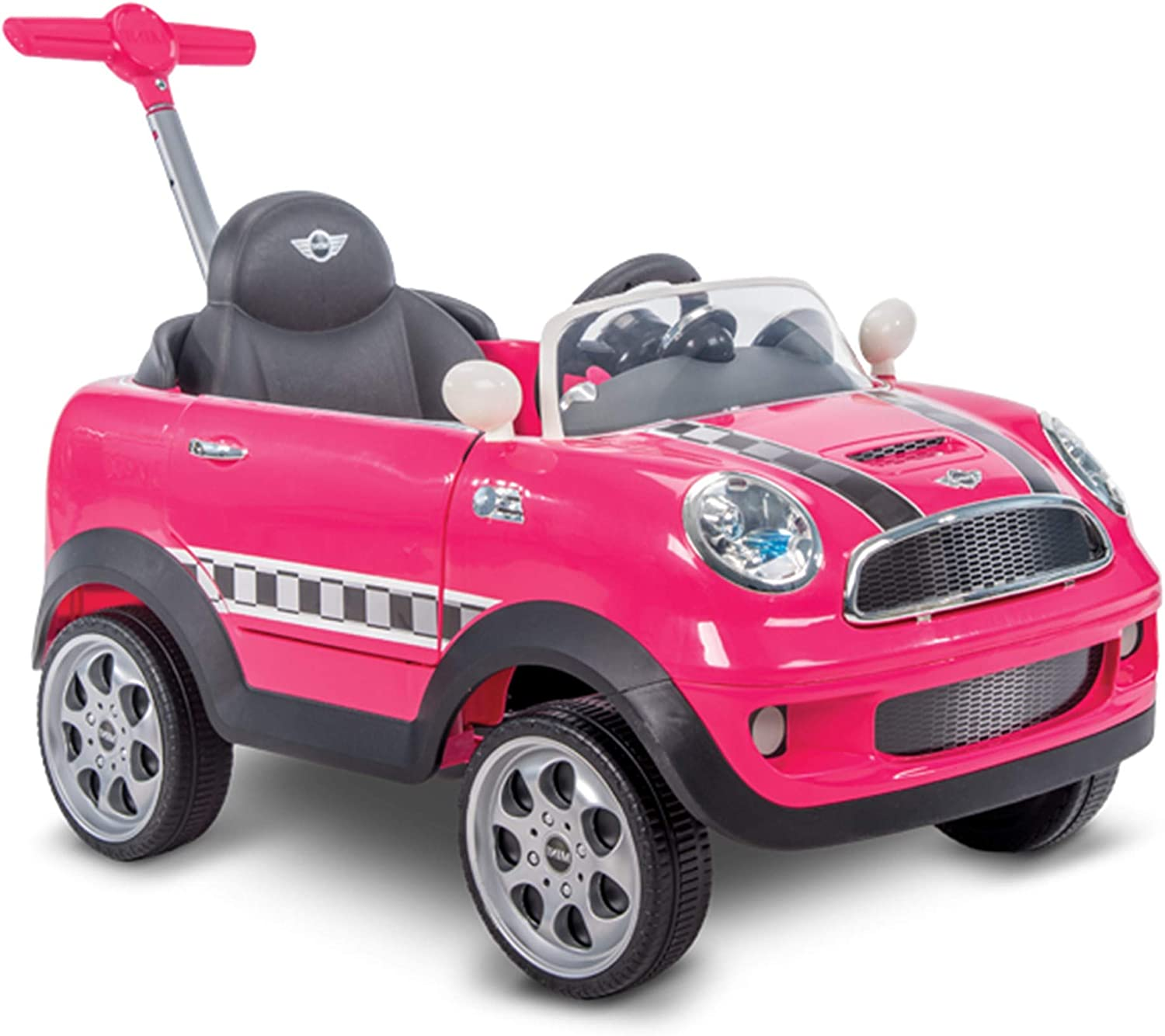 Huffy Mini Cooper for Kids Ride On Car W/ Push Stroller, Pink