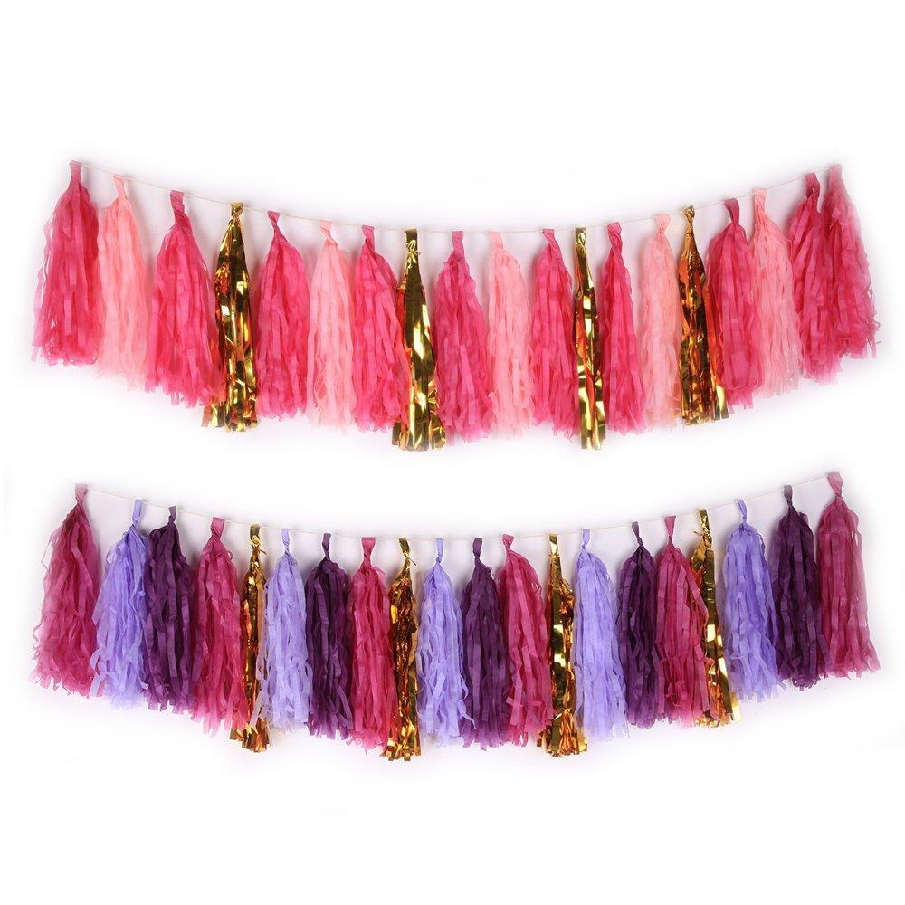 Carta velina nappe decorazione da appendere per la festa nuziale ghirlanda di bandierine oro, confezione da 40... red and purple LONGLE