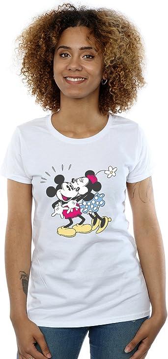 Disney Women/'s Mickey And Minnie Mouse Hippie Love Boyfriend Fit T-Shirt
