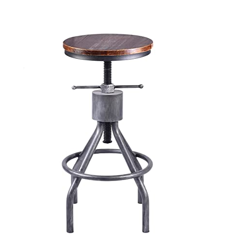 Pleasant Lokkhan Adjustable Round Wood And Metal Stool Vintage Industrial Swivel Pipe Bar Stool Cast Iron Farmhouse Pub Height Stool 23 4 33 Inch Brown Onthecornerstone Fun Painted Chair Ideas Images Onthecornerstoneorg