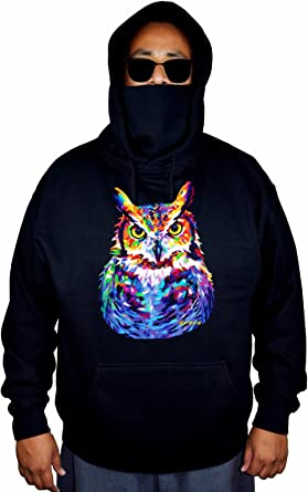 Mens Neon Owl Painting Black Fleece Zipper Hoodie Black