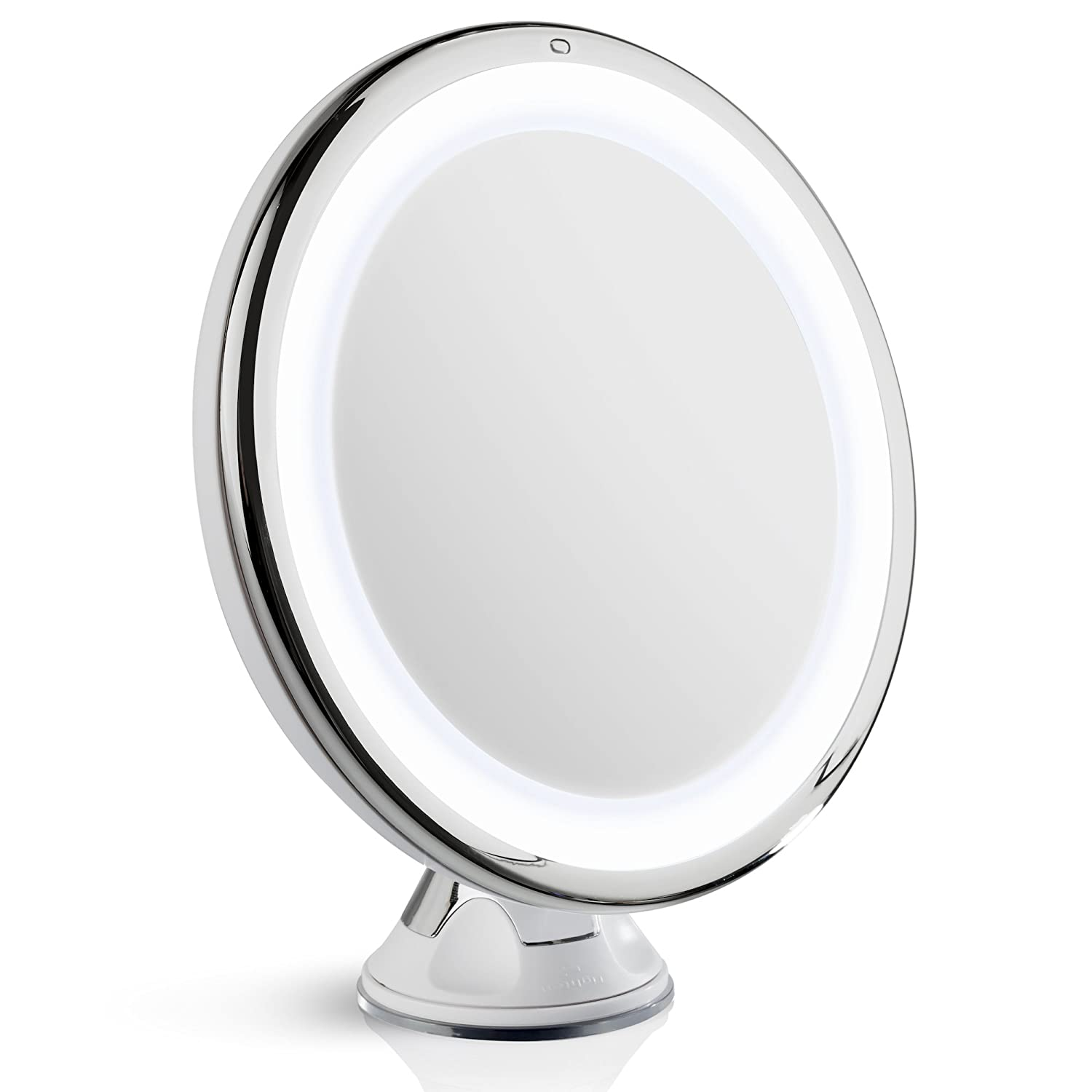 "Fancii Daylight LED 10X Magnifying Makeup Mirror - 8.0"" Large Lighted Travel Mirror - Dimmable Light, Cordless, Operated, Locking Suction, 360 Rotation, Portable & Illuminated"