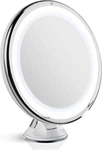 Fancii 10X Magnifying Makeup Mirror with Natural Daylight LED - 20 cm Large Lighted Travel Vanity Mirror - Dimmable Light, Cordless, Battery Operated, Locking Suction, 360 Rotation, Portable & Illuminated