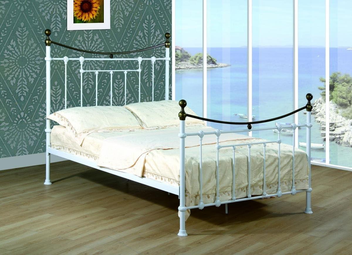 Elizabeth King Size Bed White Antique Brass King Size Bed Frame Bedroom Furniture Bedroom Furniture Amazon Co Uk Kitchen Home