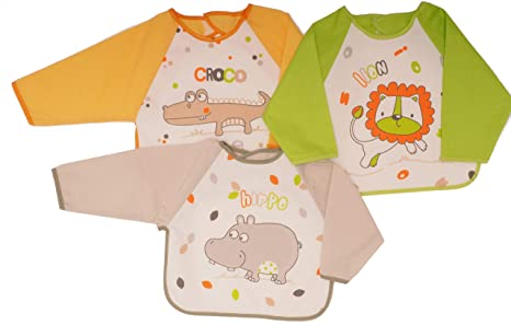 ad39f6611 Ti TIN Pack 3 Baberos Estampados Impermeables para Bebé Rizo 73% Algodón y  27