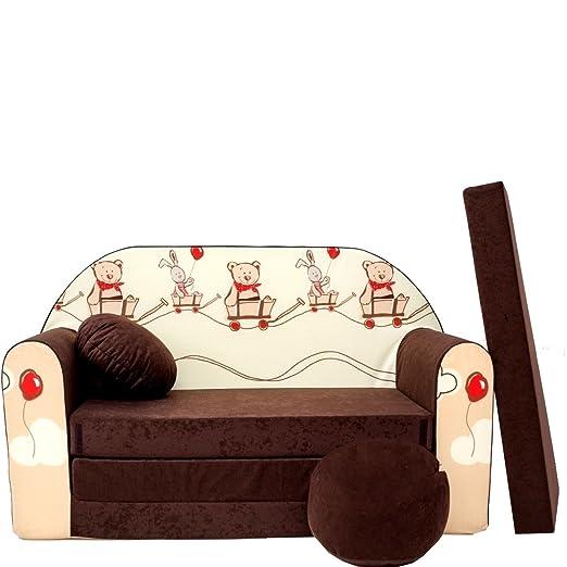 K26 Minicouch Kindersofa Baby Sofa Set Sitzkissen Matratze K26 braun Teddy