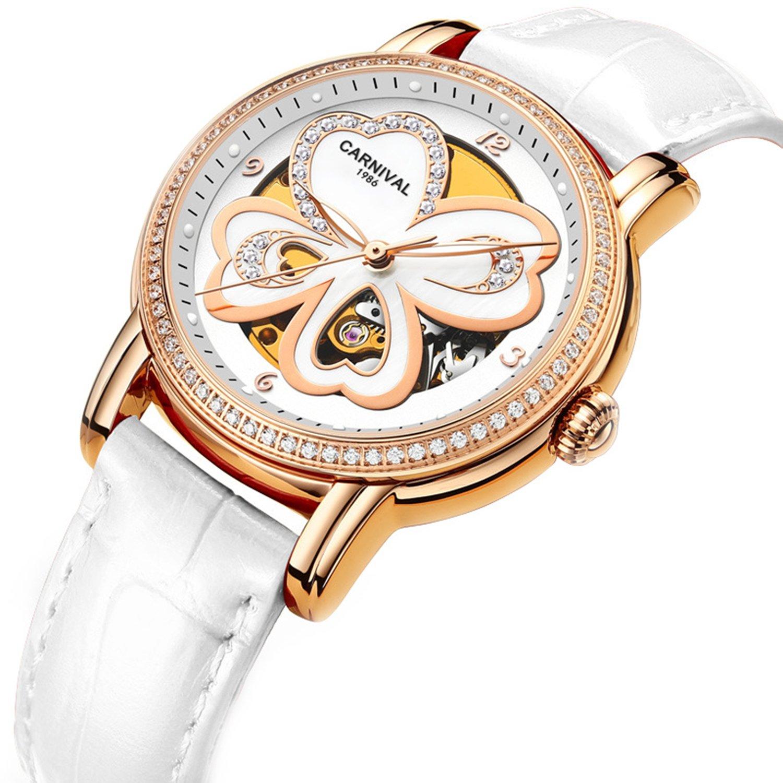 レディース自動機械腕時計クリスタルベゼルwithクローバー本革スケルトン腕時計 Rose Gold & white B07CWFYGZYRose Gold & white