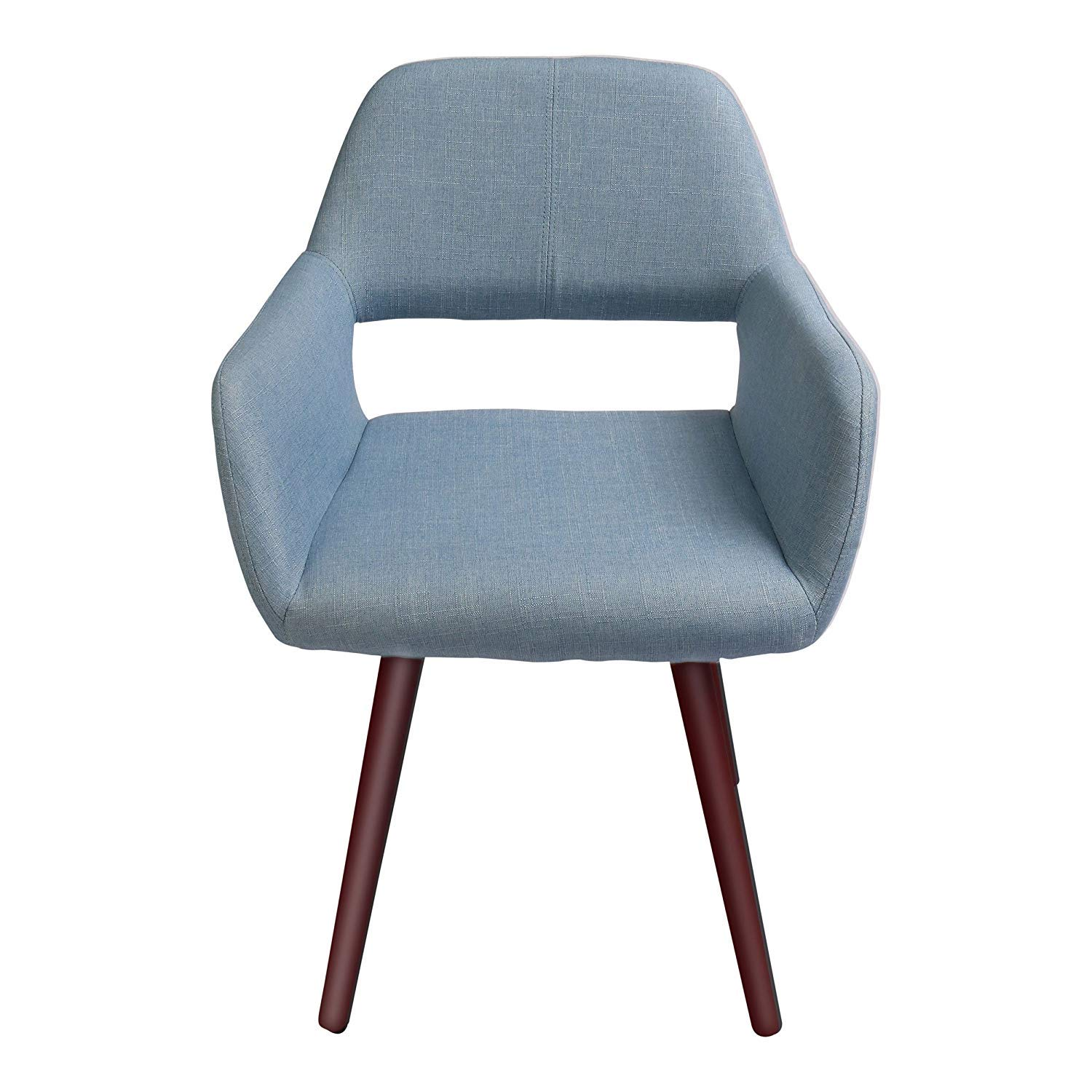 Fremont Accent Arm Chair Modern Upholstered Fabric Light Blue Dining Armchair with Wood Legs for Living Room, Dinning Room