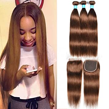 48e4a942c Mother's Day Gifts 100g/Bundles Medium Auburn Straight Hair Weaves 8A Grade  Peruvian Hair #