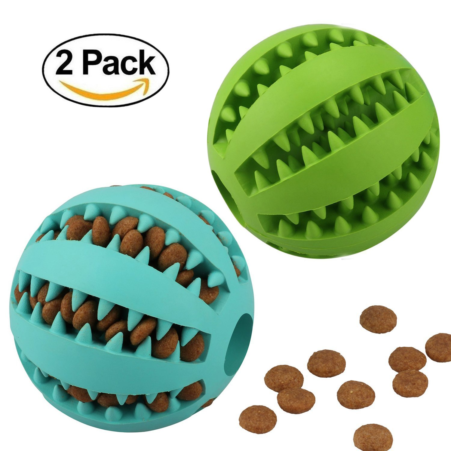 2 Pack Dog Toy Balls Bite Resistant Soft Rubber Bouncy Treat Pet Toys Ball Tooth Cleaning IQ Training Chew Ball Toy