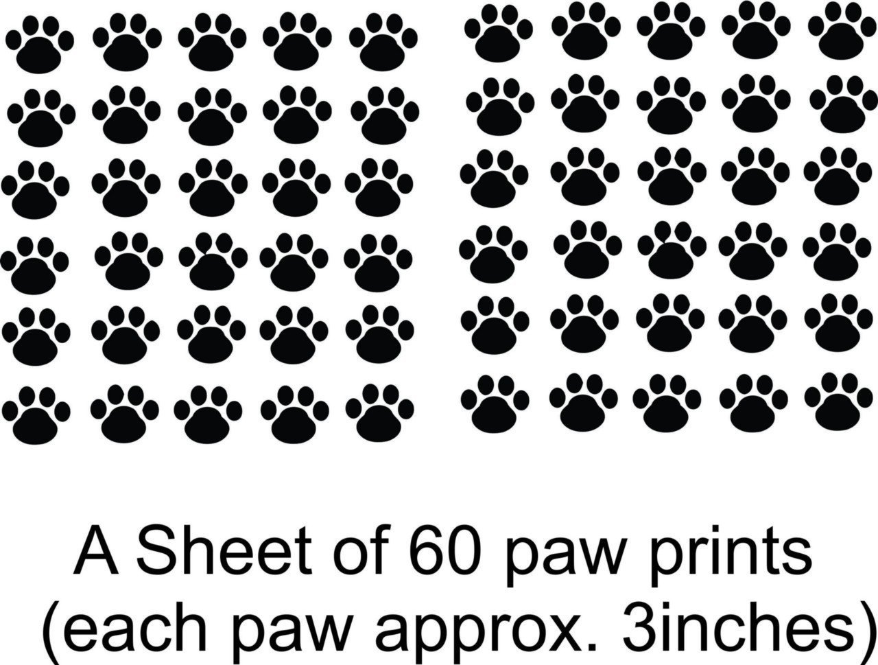 Design with Vinyl CK-Decal-41-20 Decor Item Cat Dog 60 Animal Paw Prints Living Room Bedroom Picture Art Peel and Stick Sticker Vinyl Wall Decal, 21-Inch x 31-Inch, Black