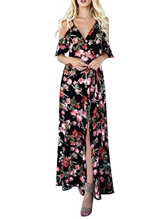 6e56d76c7d9 Glamaker Womens Sexy Deep V Neck Cold Shoulder Floral Print Split Maxi Party  Dress ,Black