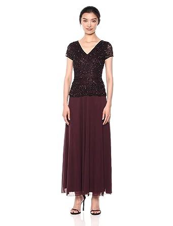 1b5ed1596a2 Pisarro Nights Women s Long Mock 2-Piece Beaded Dress with Double v-Neck