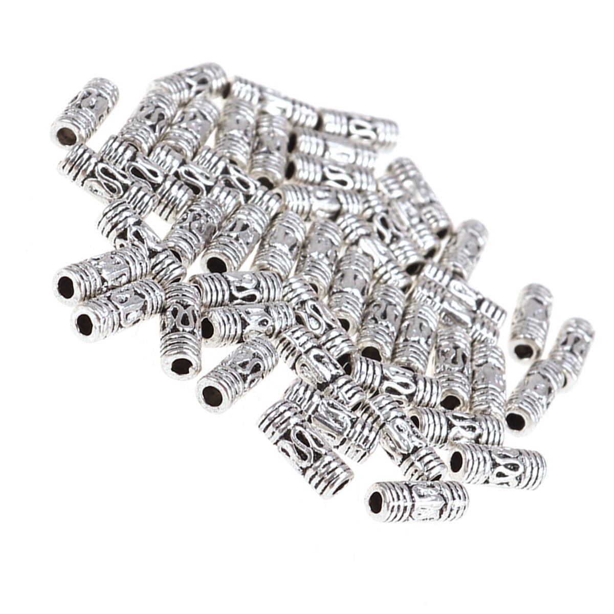 5 abalorios metal plata el Tíbet 17mm Tube//tubo entre perlas joyas Best f229