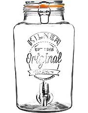 Kilner 8 Litre Clip Top Round Glass Drinks Dispenser in Gift Box, 24.5 x 21 x 37 cm