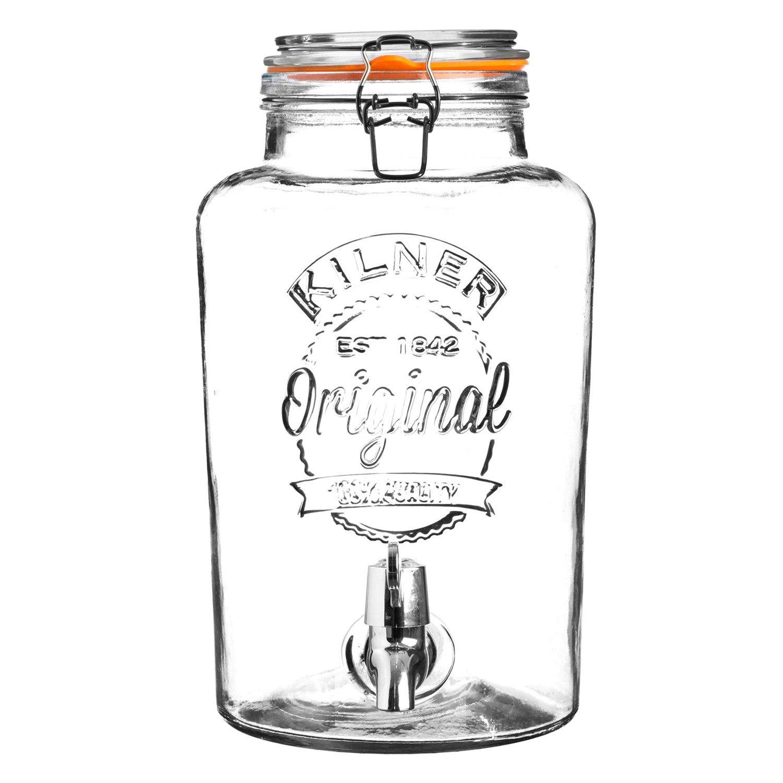 KILNER Clip Top 8 litros dispensador de Bebidas de Cristal Redondo en Caja de Regalo, Transparente 0025.874