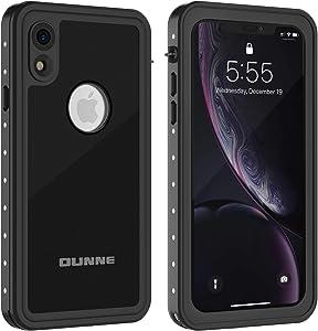 OUNNE iPhone XR Waterproof Case, Full Sealed Underwater Cover Dustproof Snowproof Shockproof Waterproof Phone Case for iPhone XR (Black)