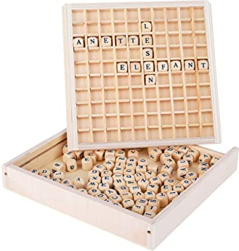 Small Foot 7988 Letter Frame Educate Laying And Reading Game Made Of Wood With 145 Letter Cubes From 6 Years On