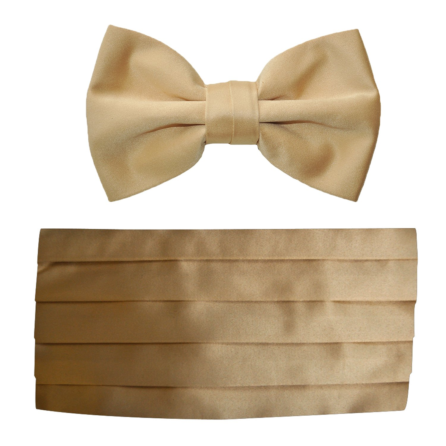 Mens Antique Gold Satin Cummerbund & Bow Tie Set