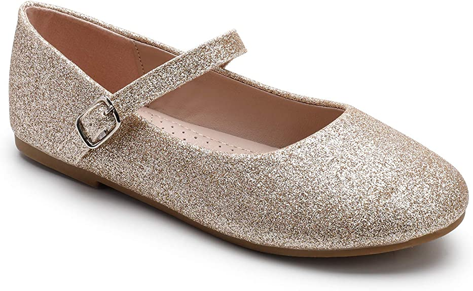 Trary Girls Dress Flats Slip on Shoes Gold Glitter 09 best girls' dress shoes