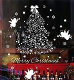 Natale Vetrofanie Display Rimovibile Adesivi Murali Fai da te Finestra Decorazione Vetrina Wallpaper fiocco di neve Angeli