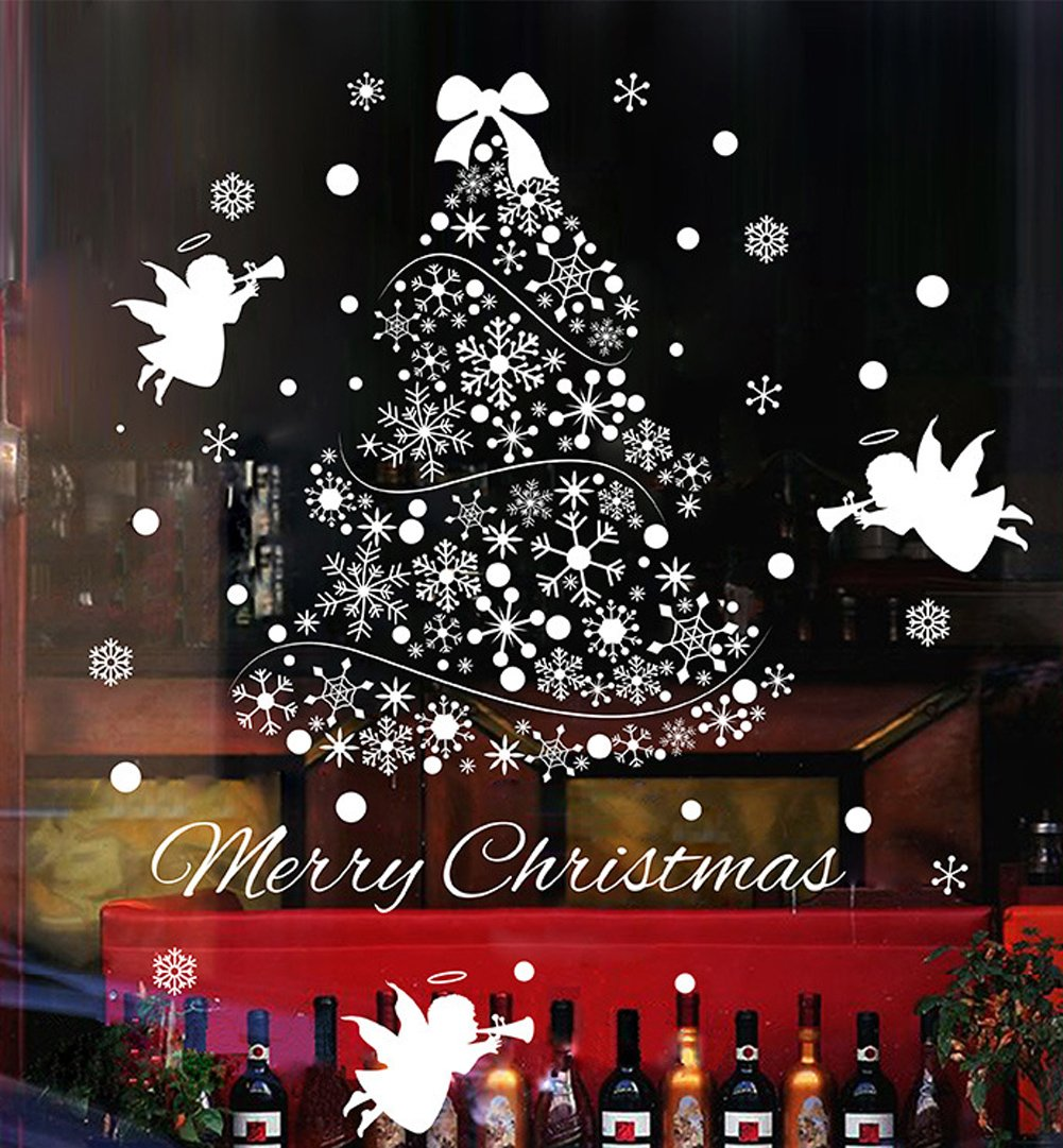 Natale Vetrofanie Display Rimovibile Adesivi Murali Fai da te Finestra Decorazione Vetrina Wallpaper fiocco di neve Angeli Yuson Girl