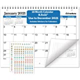 Small Wall Calendar 2020-2021 (Blue), Monthly Calendar for Binder, Desk or Wall, 8.5x11 Inches, Use July 2020 to December 2021, School Year Academic Calendar, Bonus Stickers Included