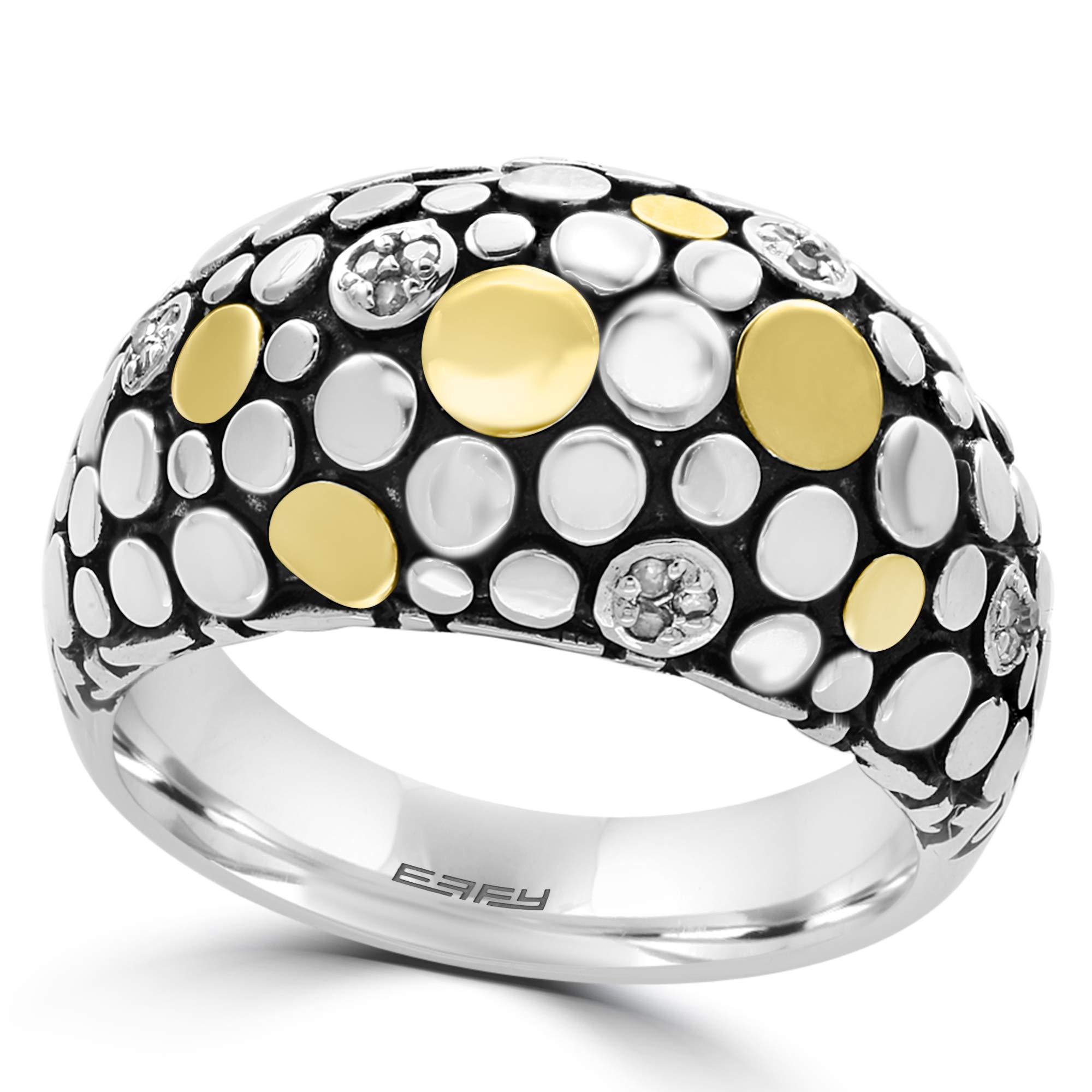 EFFY 925 STERLING SILVER/18K YELLOW GOLD DIAMOND RING by EFFY