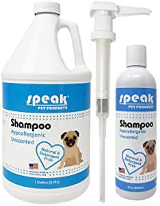 Speak Pet Products Hypoallergenic Unscented Dog Shampoo 1 Gallon With Pump and 17 Ounce Bottle