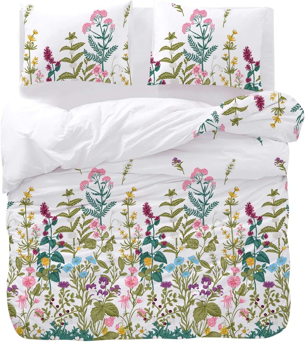 Wake In Cloud - Floral Comforter Set, Colorful Tropical Flowers Tree Leaves Plant Pattern Printed on White, Soft Microfiber Bedding (3pcs, Twin Size)