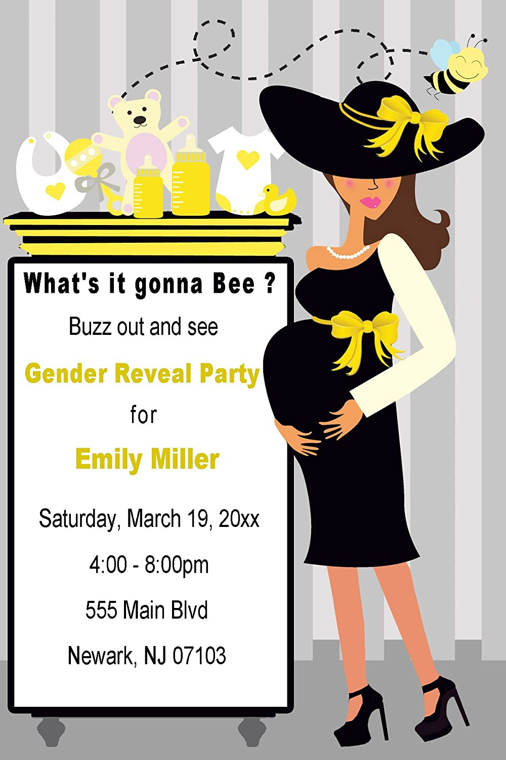Amazon.com: 30 Invitations Yellow Black Grey Whats It Gonna Bee ...