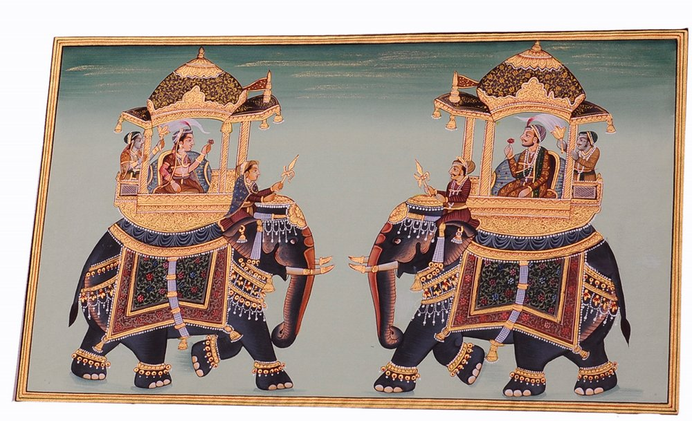 Mughal Miniature Royal Art Handmade Ambabari Elephant Stonecolor Ethnic Painting Lively to Decor Your Home Hotel Office Bedroom Lobby or Living Room by Handmade (Image #5)