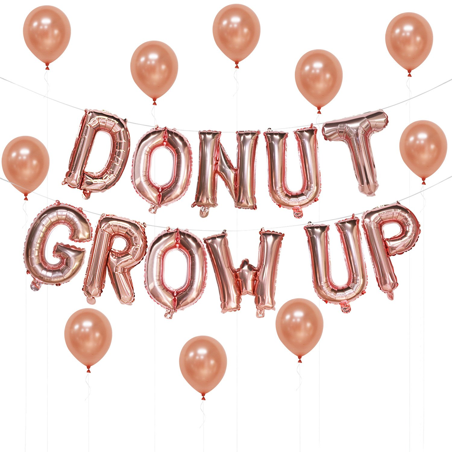 Donut Grow up Rose Gold Balloons Banner | Donut Grow up Birthday Balloons Decorations | Donut Theme Party Supplies | Free 10pcs Latex Balloons