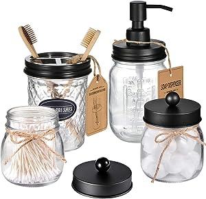 Amolliar Mason Jar Bathroom Accessories Set 4 Pcs -Lotion Soap Dispenser & 2 Cotton Swab Holders & Toothbrush Holder - Rustic Farmhouse Decor, Bathroom Home Decor, Perfect Decorating Idea (Black)