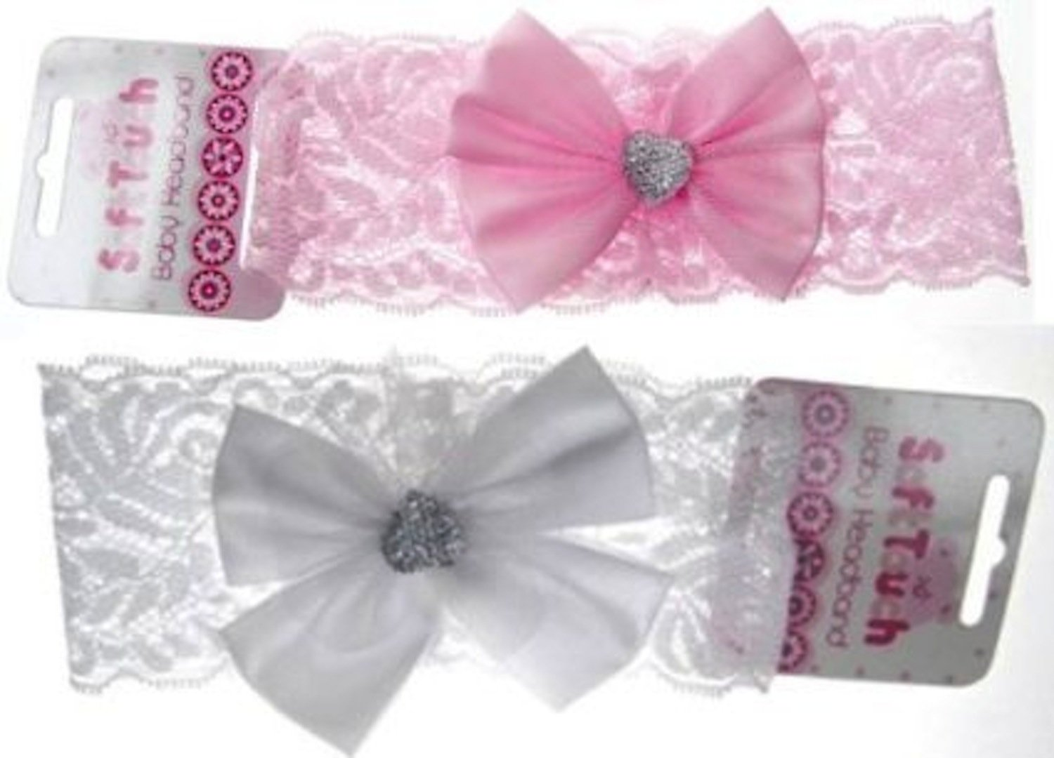 Baby Headband Girls Lace Satin Bow /& Button Gem Hair Bands White by Soft Touch