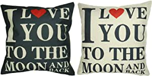"Luxbon Set of 2 Pcs Durable Cotton Linen ""I Love You"" Throw Pillow Cases Black and Beige Valentine Lover Gift 18""X18""/45x45cm- I LOVE YOU TO THE MOON AND BACK"