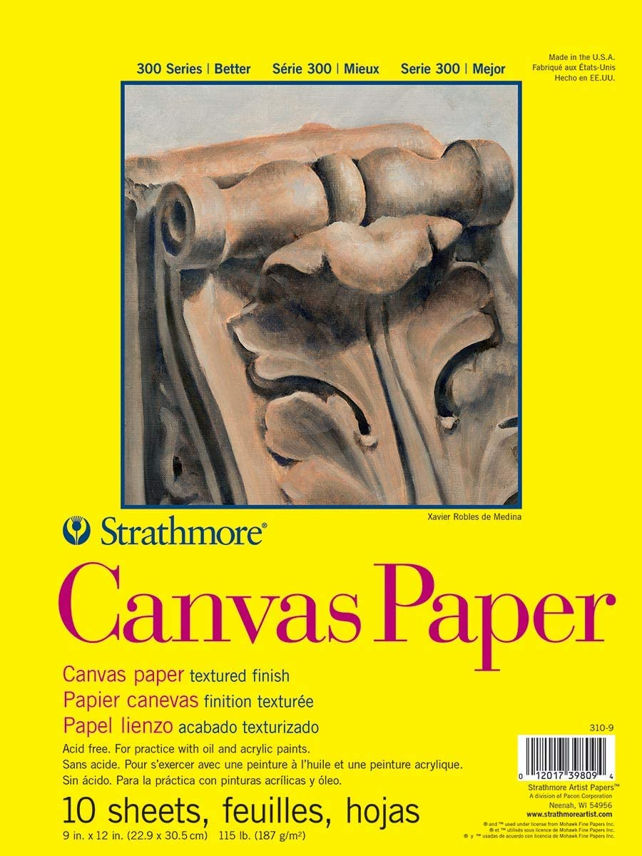 """Strathmore (310-9) 300 Series Canvas Pad, 9""""x12"""" Glue Bound, 10 Sheets : Paper Pads And Notebooks : Office Products"""
