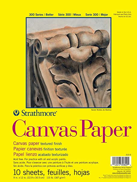 115 lb 16 x 20 Inches Strathmore 300 Series White Canvas Paper Pad 10 Sheets